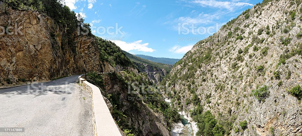 panorama of landscape in Alps with street stock photo