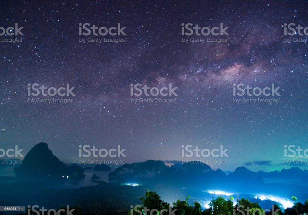 panorama of Landscape with Milky Way Night sky with stars stock photo