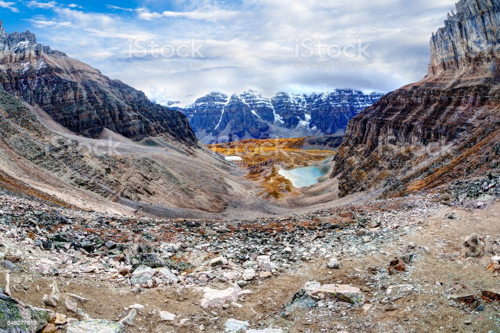 Panorama of Larch Valley in the Canadian Rockies stock photo