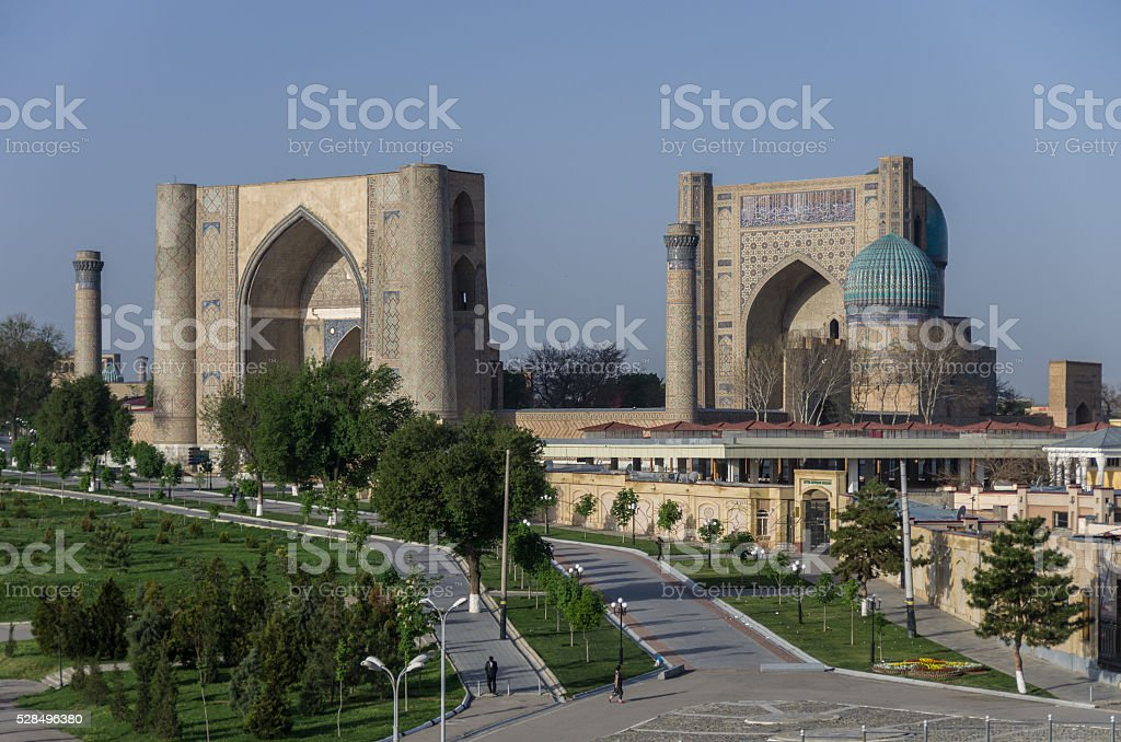 Panorama of large complex of Bibi-Khanym Mosque with the beautif stock photo