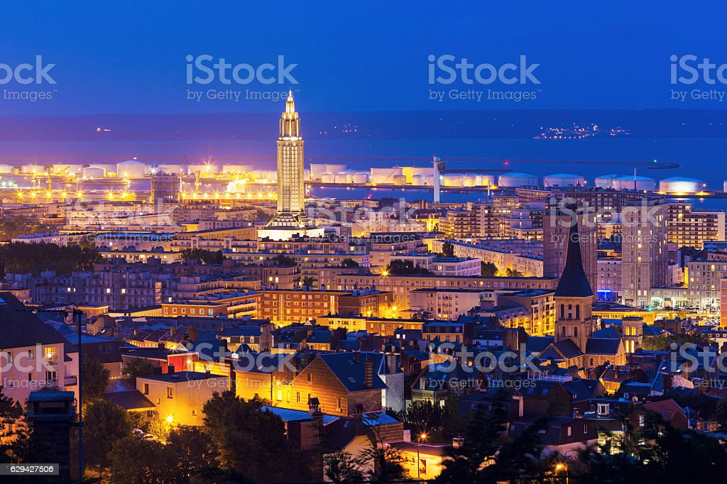 Panorama of Le Havre at night stock photo