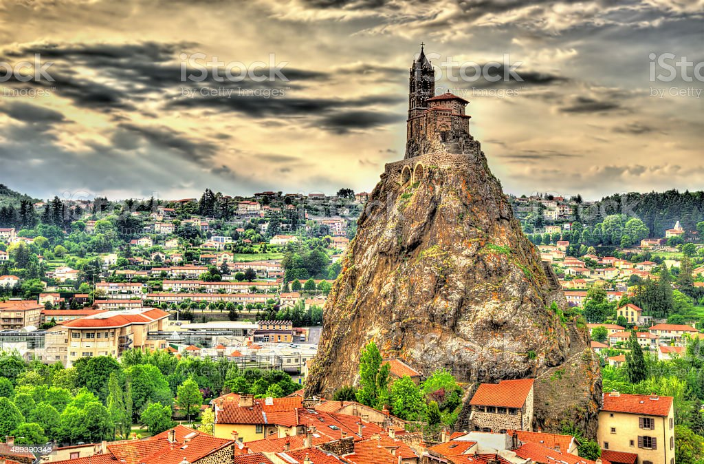 Panorama of Le Puy-en-Velay - Auvergne, France stock photo