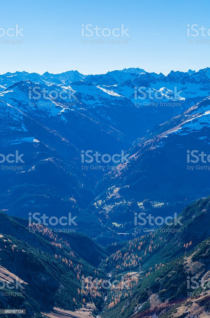 Panorama of Lechtal Alps from the mountainside on E5, Austria stock photo