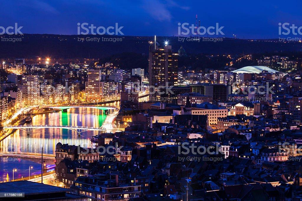 Panorama of Liege stock photo