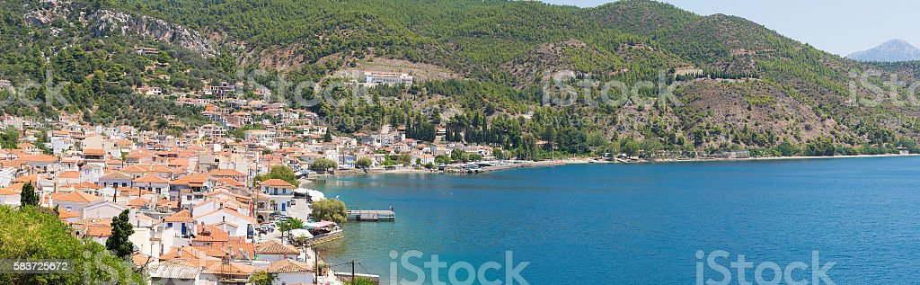 Panorama of limni village in north Evia. stock photo