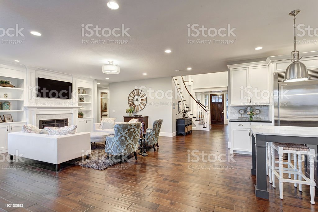 Panorama of Living Room in Luxury Home stock photo