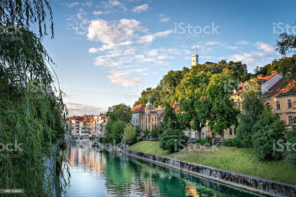Panorama of Ljubljana Castle, Slovenia, Europe. stock photo