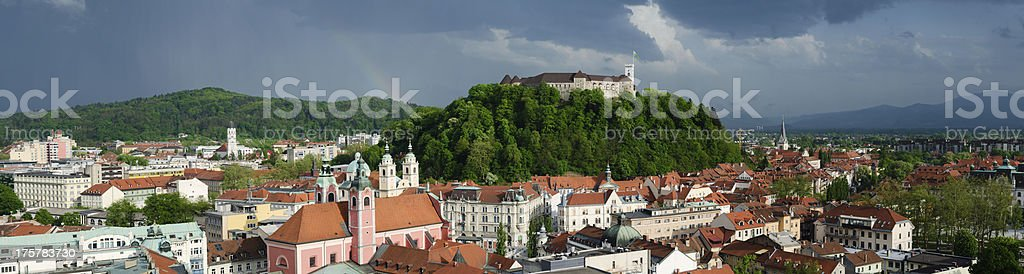 Panorama of Ljubljana with Rainbow royalty-free stock photo
