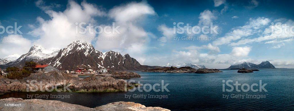 Panorama of Lofoten mountains range, Svolvaer royalty-free stock photo