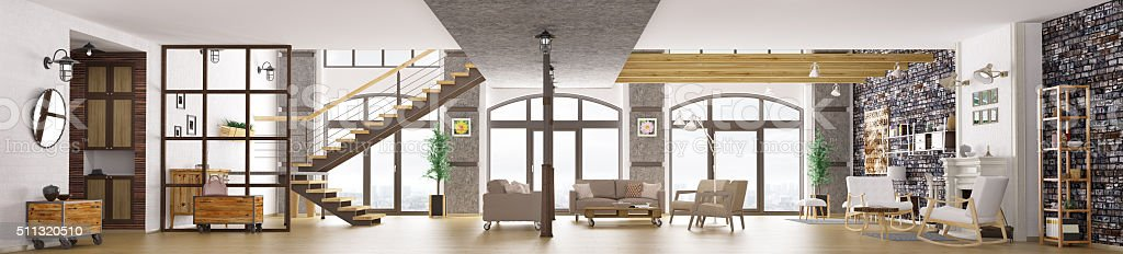 Panorama of loft apartment interior, living room 3d rendering stock photo