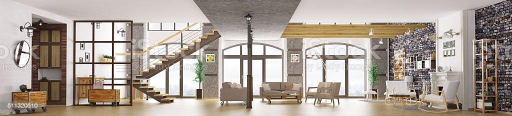 Panorama of loft apartment interior, living room 3d rendering stock photo