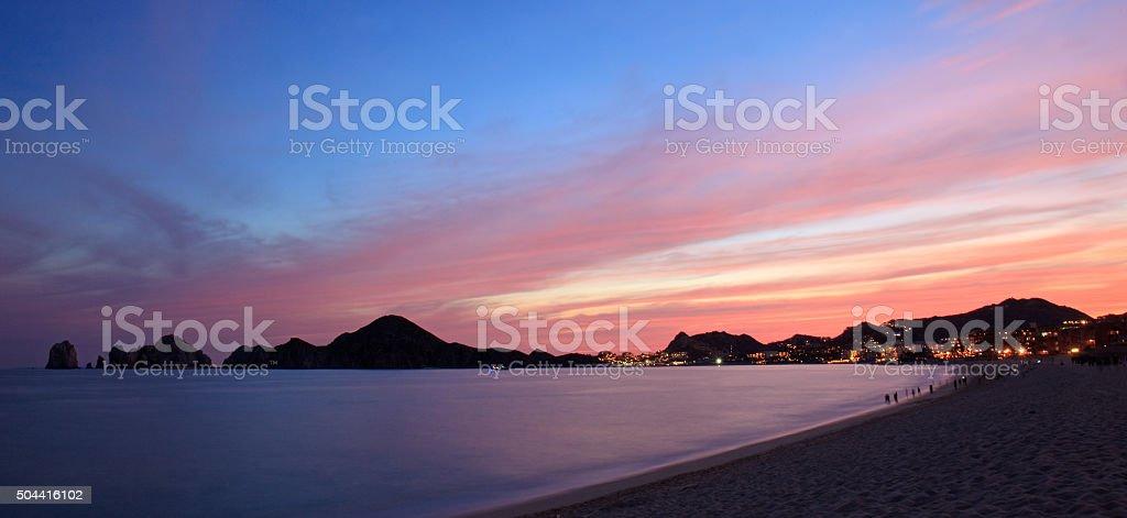 Panorama of Los Cabos Beach at Night stock photo