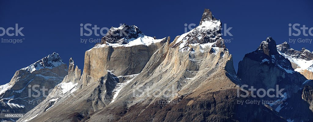 Panorama of Los Cuernos from Lake Pehoe royalty-free stock photo