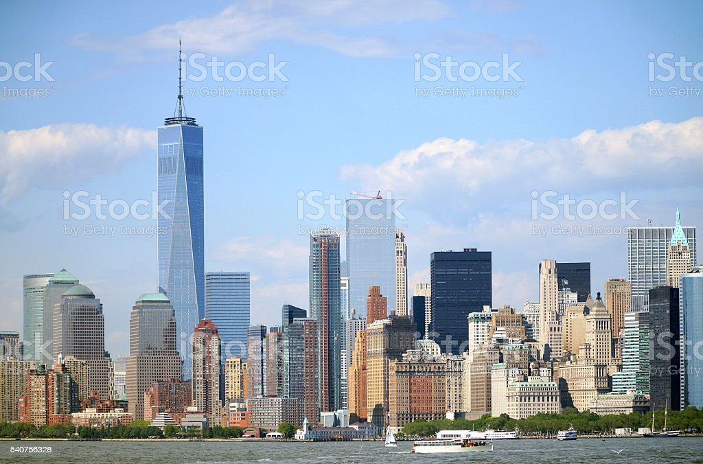 Panorama of lower Manhattan stock photo