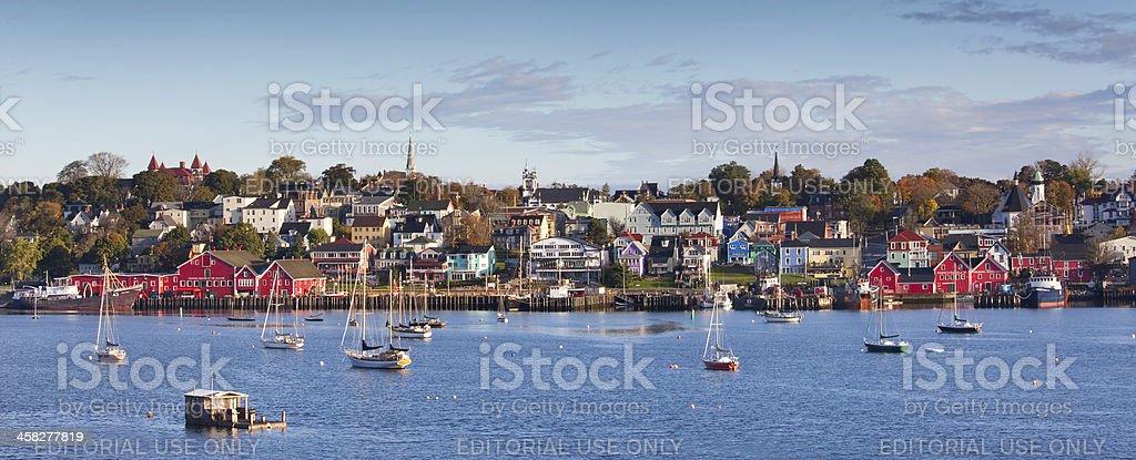 Panorama of Lunenburg Nova Scotia in Fall stock photo