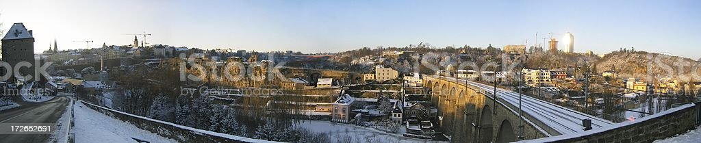 Panorama of Luxembourg city under snow stock photo