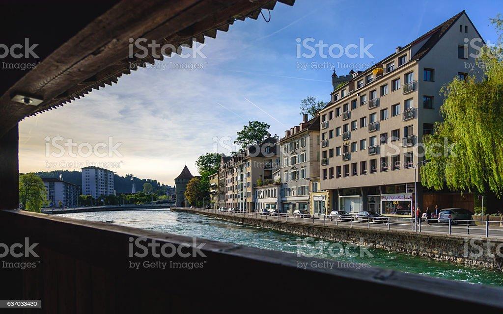 LUZERN,SWITZERLAND - MAY 20: panorama of Luzern lake view stock photo