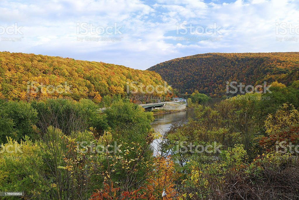 Panorama of magnificent Delaware Water Gap in autumn stock photo