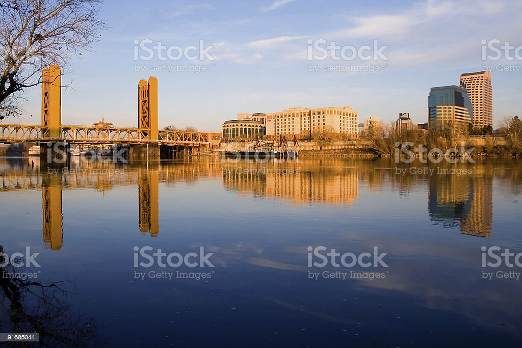 Panorama of magnificent Sacramento over water at sunset stock photo