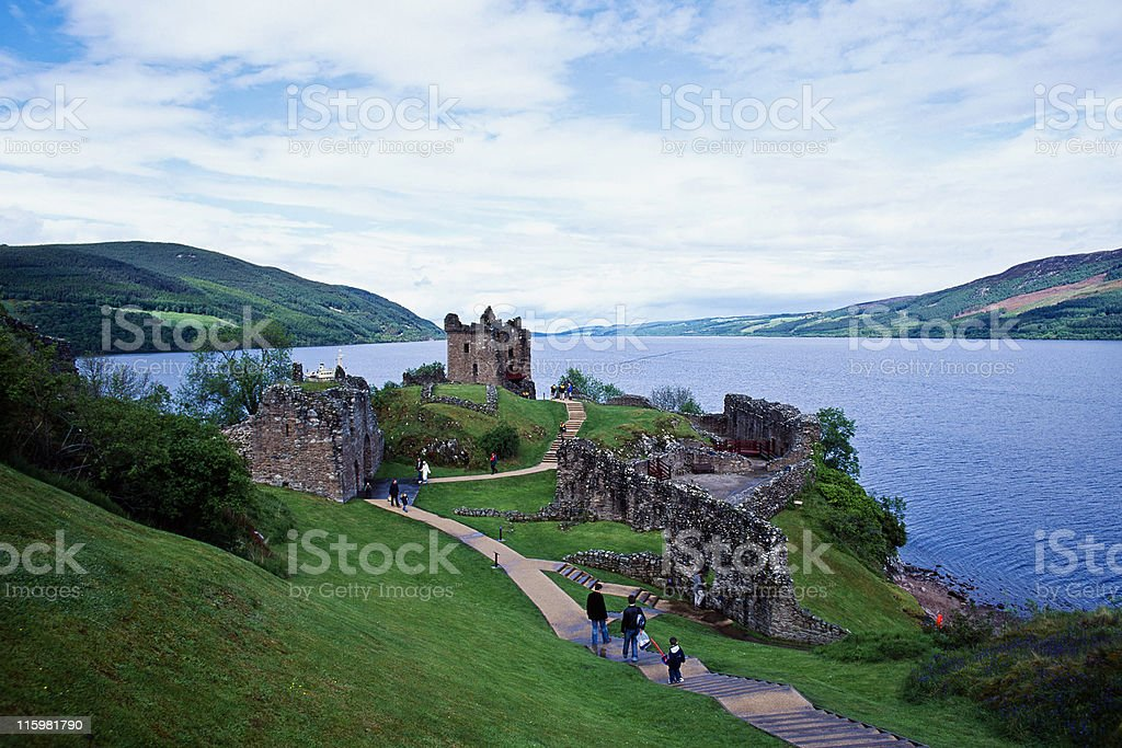 Panorama of magnificent Urquhart Castle located in Loch Ness stock photo
