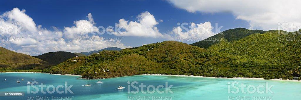 panorama of Maho Bay in Saint John, Virgin Islands stock photo