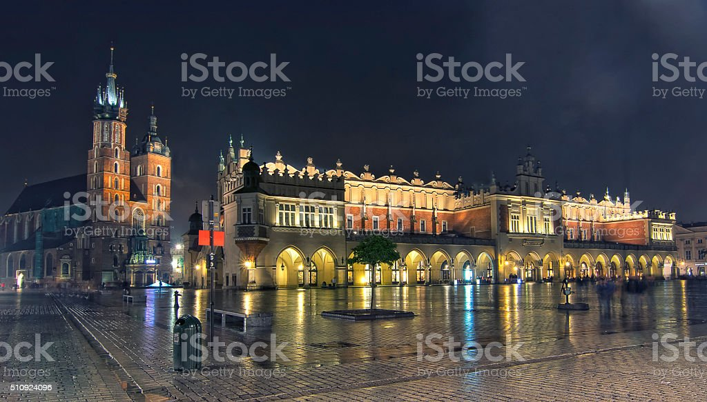 Panorama of Main Market Square at night, Poland, Krakow stock photo
