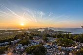 Panorama of Mali Losinj Croatia at sunset
