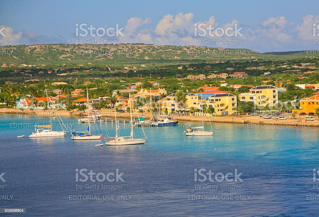 Panorama of Marina and City of Kralendijk, Bonaire stock photo