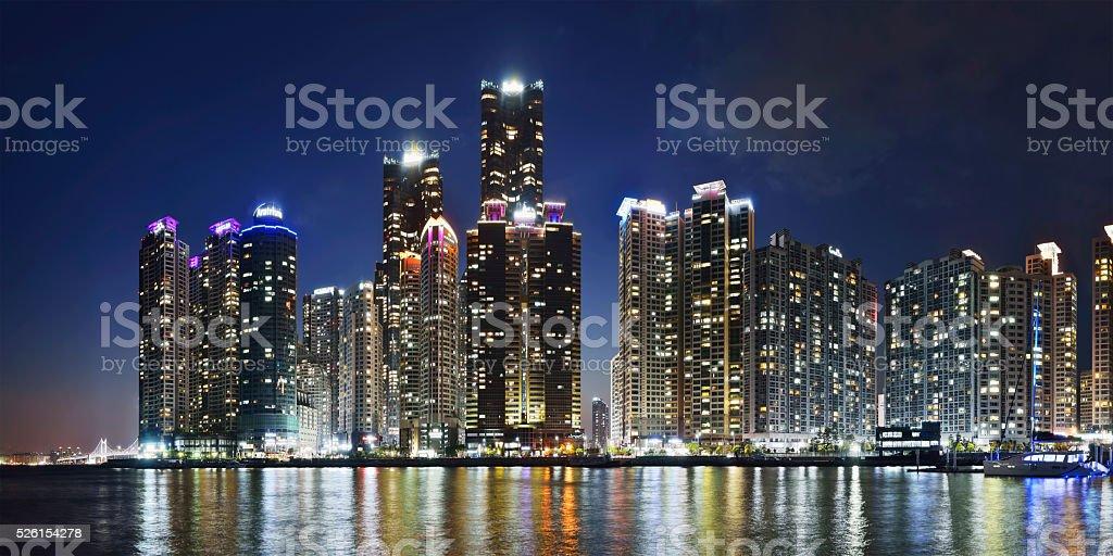 Panorama of Marina city in Busan, South Korea stock photo
