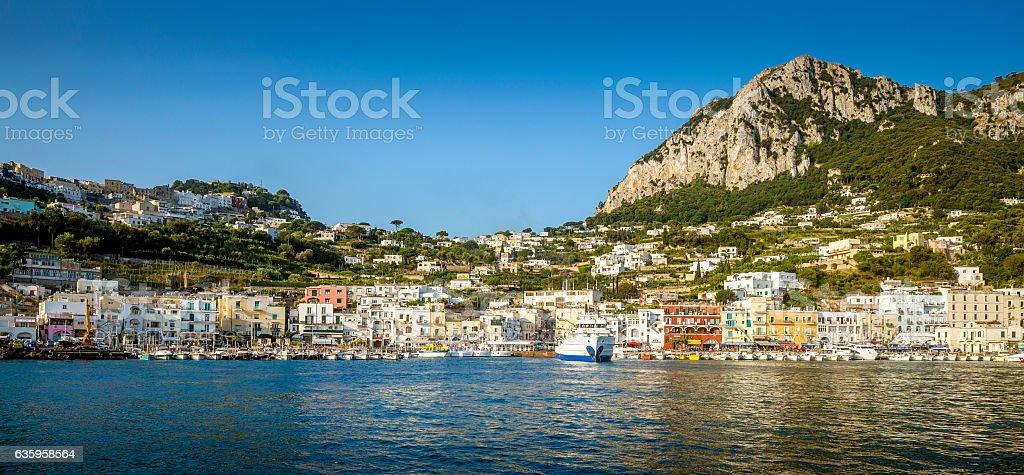 Panorama of Marina Grande on Capri island, Italy stock photo