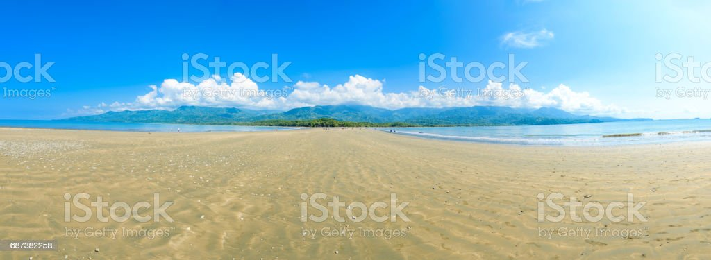 Panorama of Marino Ballena National Park in Uvita - Punta Uvita - Costa Rica stock photo