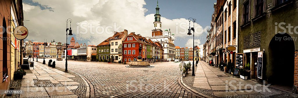 Panorama of market place in the center of Pozna? stock photo