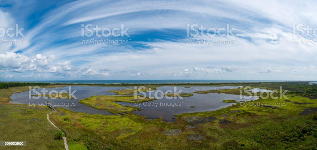 Panorama of marsh in North Carolina stock photo