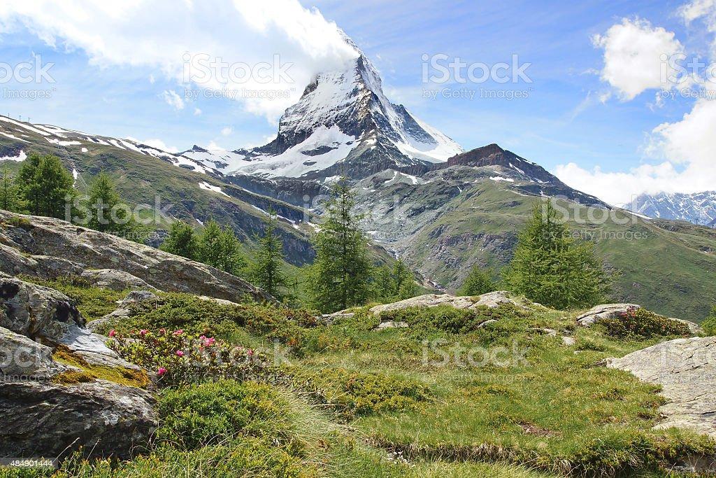 Panorama of Matterhorn, Switzerland. stock photo