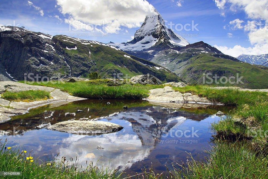 Panorama of Matterhorn, Switzerland stock photo