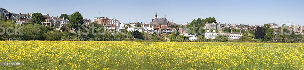 Panorama of Meadows and Classic Buildings in Chester City stock photo