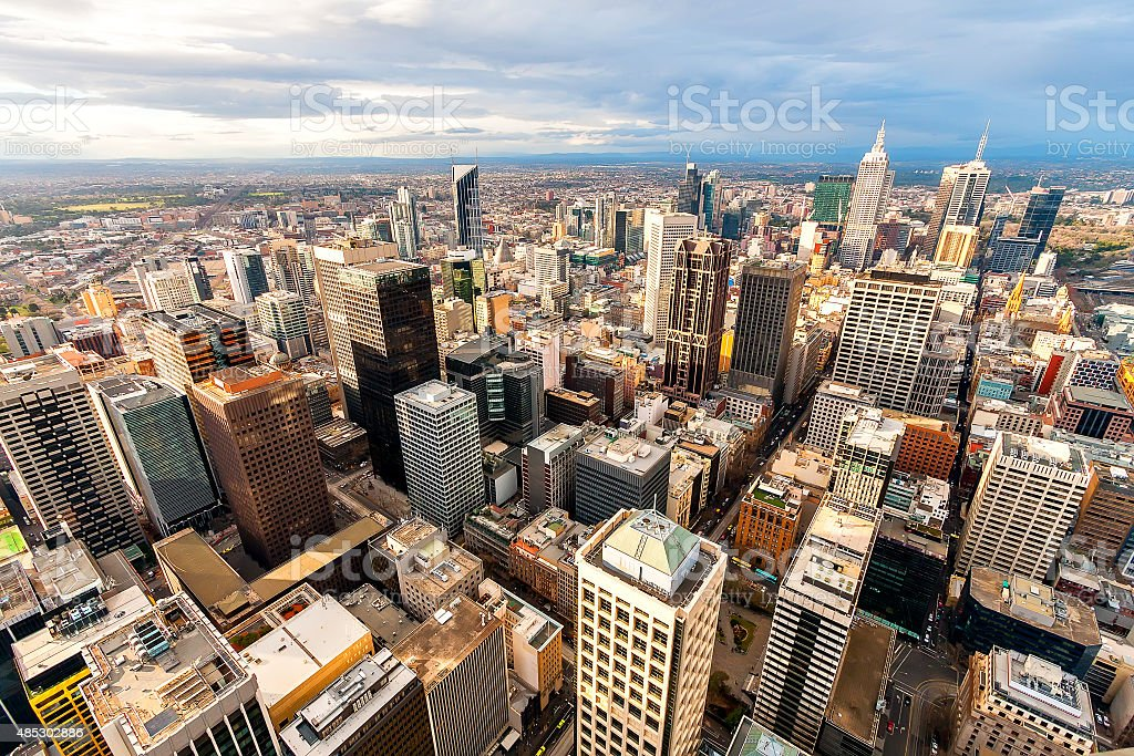 Panorama of Melbourne's city center from a high point. Australia. stock photo