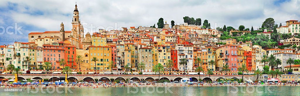 Panorama of Menton,France. stock photo