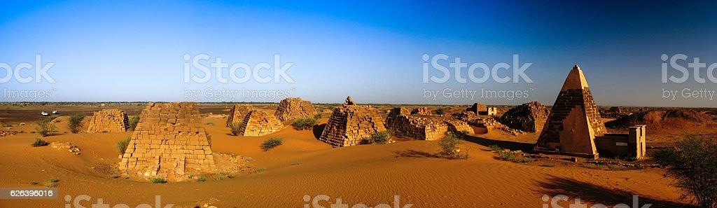 Panorama of Meroe pyramids in the desert Sudan, stock photo
