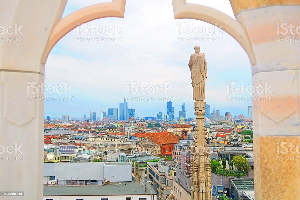 Panorama of Milan, Lombardy, Italy stock photo