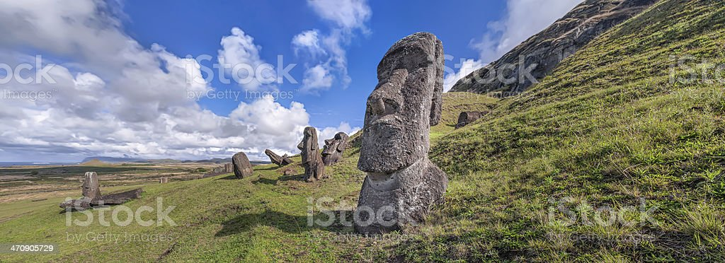 Panorama of Moai statues at Rano Raraku, Easter Island, Chile. stock photo