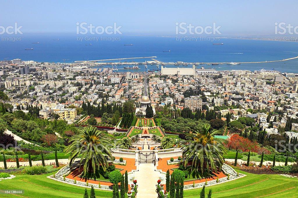 Panorama of modern city Haifa ,Israel stock photo