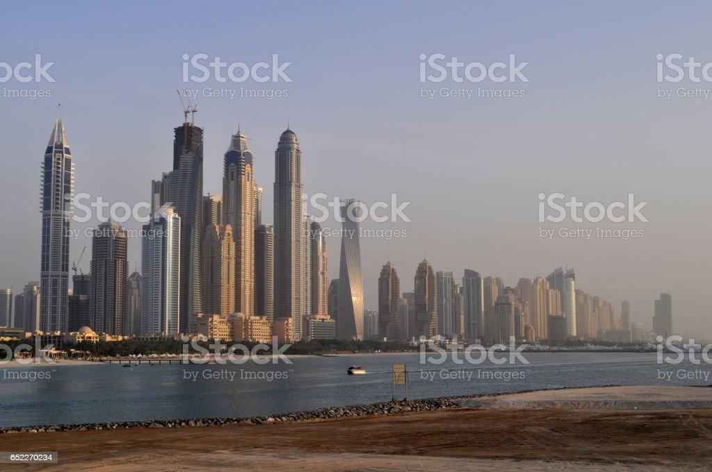 Panorama of modern skyscrapers in Dubai city,Dubai,United Arab Emirates stock photo