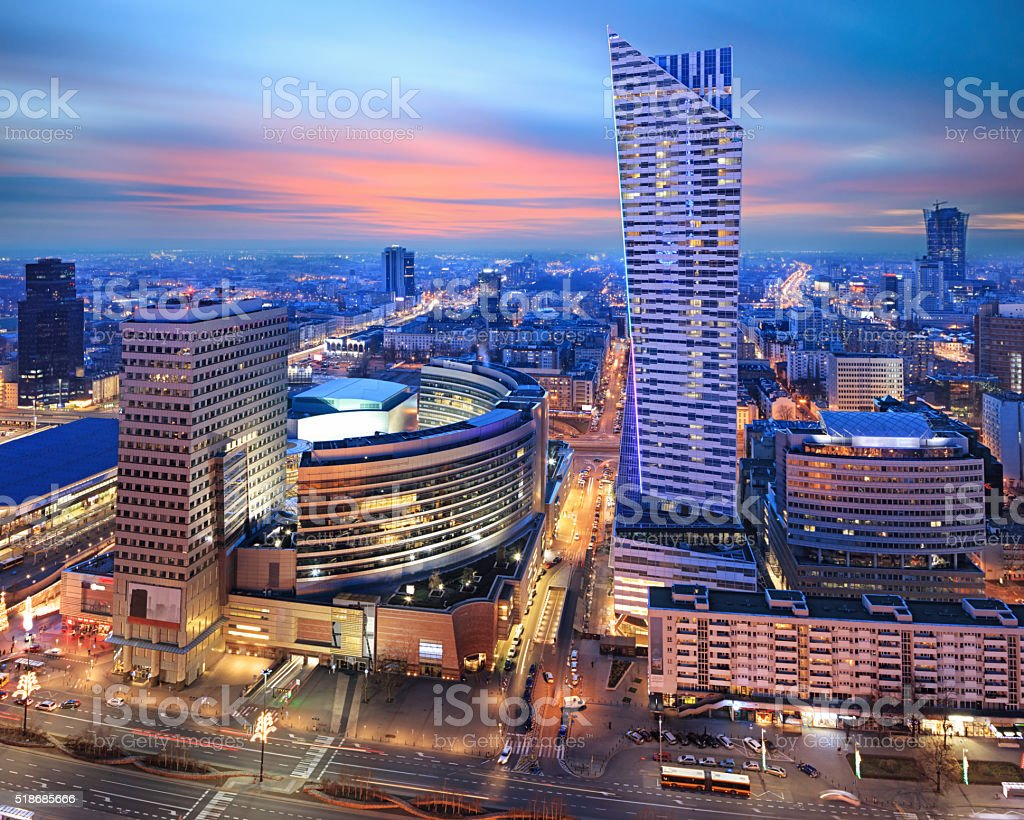 Panorama of modern Warsaw by night stock photo