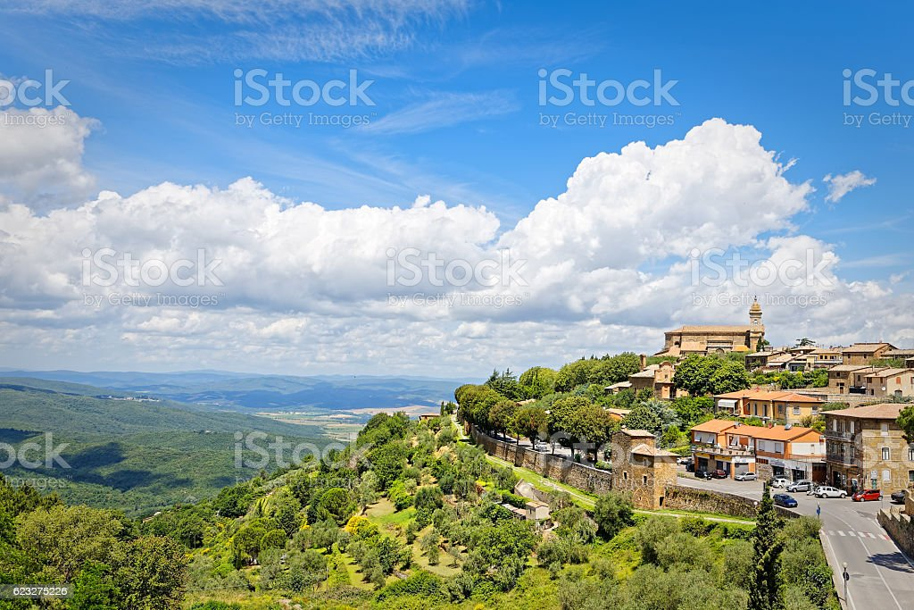 Panorama of Montalcino, in Tuscany, famous for its Brunello wine stock photo
