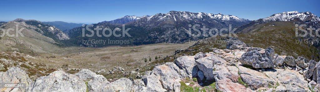 Panorama of Monte Rotondo Mountain massif in Central Corsica stock photo