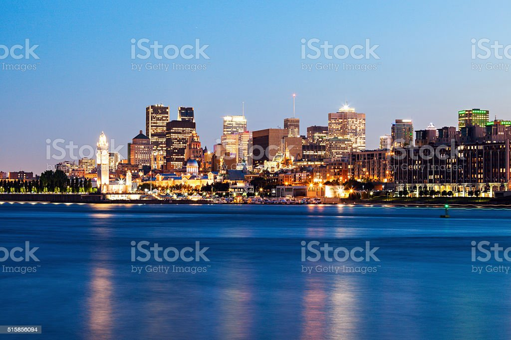Panorama of Montreal at sunset stock photo