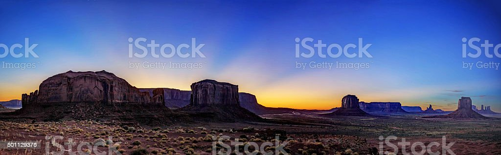 panorama of Monument Valley after sunset stock photo