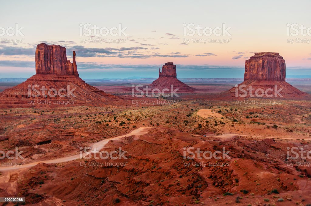 Panorama of Monument Valley in summertime