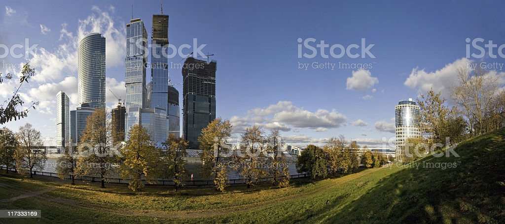 Panorama of Moscow International Business Centre in autumn royalty-free stock photo